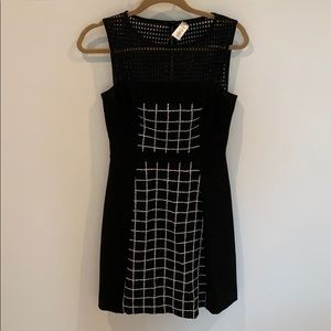 Trina Turk Black White Tweed Panel Dress w/Cutouts